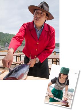 ジョン万次郎に扮したスタッフによる面白いトークと日頃の料理でも役に立つ指導